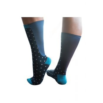 Xpandasox® Unisex Crew socks in a dotted Navy pattern with Xpandapanel calf area.
