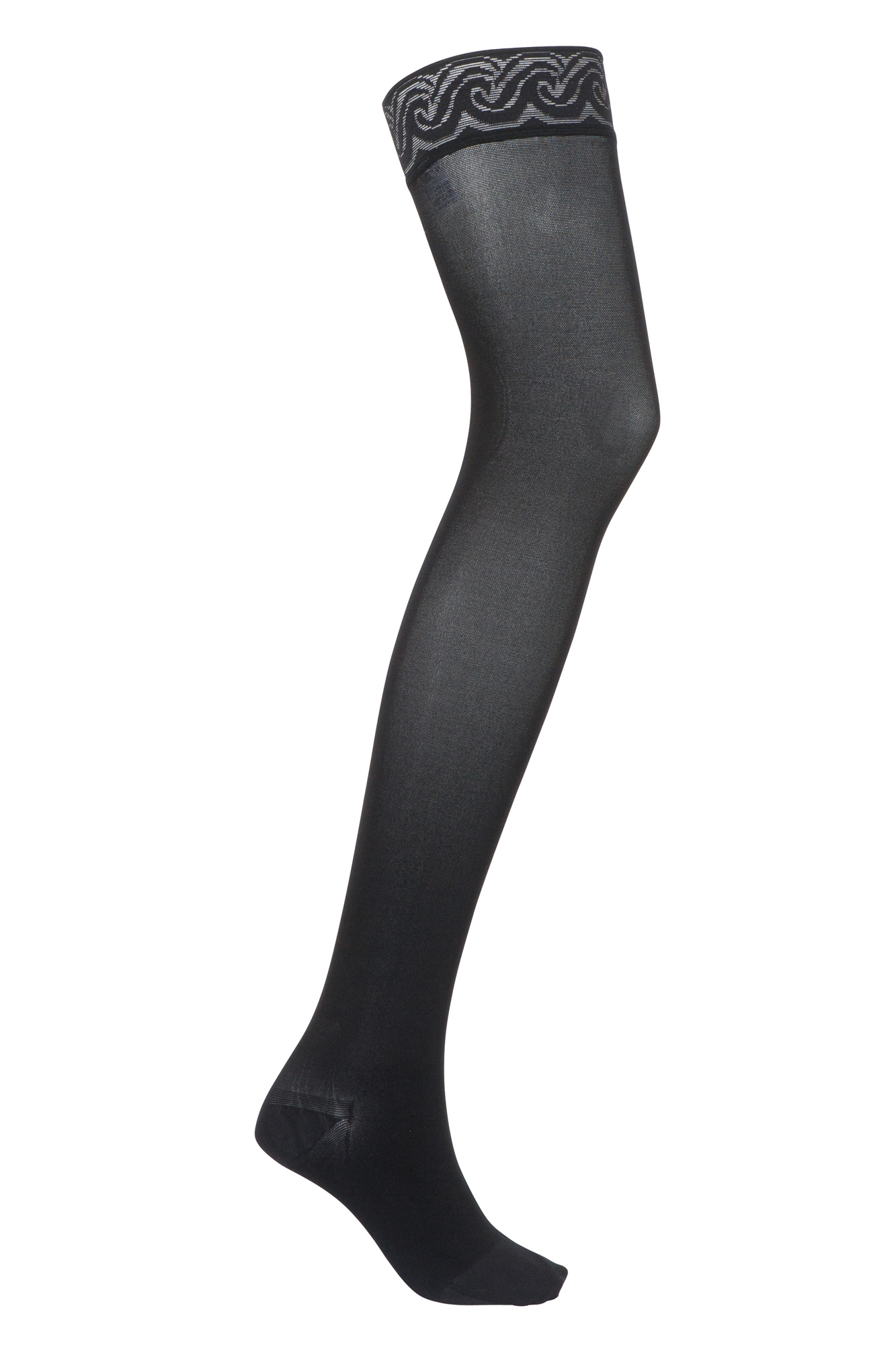 JOBST® Opaque Class 2 Thigh Hold Up Stockings with Lace Silicone Band Sand 3 Petite Closed Toe